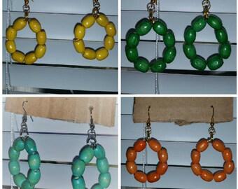 Wood Hoop Earrings:  Orange Green Teal  Yellow