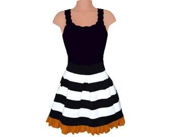 Black + Gold Stripe Scuba Skirt