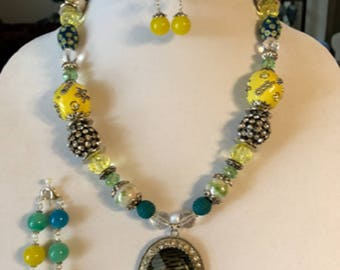 Yellow and Turquoise Necklace, Bracelet, and Earrings Set