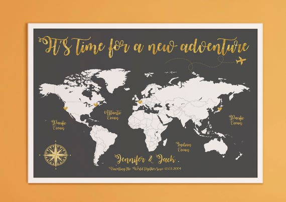 Its time for a new adventure world map travel poster like this item gumiabroncs Choice Image