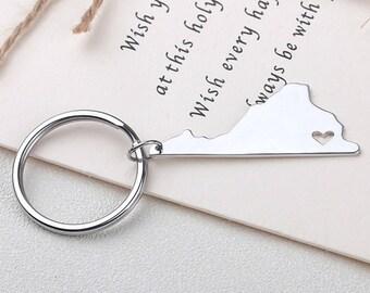 I heart Virginia keychain - Virginia keyring - Map Jewelry - State Charm - Map keychain