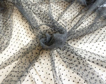 Tulle fabric 5 m black dots.