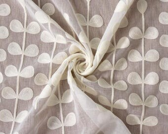 veil curtain fabric embroidered cotton flower 3 m
