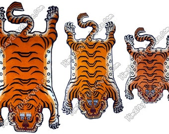 Tibetan Tiger Rug/Carpet: Pelt Skin Stripe Orange Tibet Nepal Tibetan  Meditation