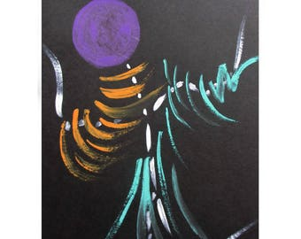 "Card Art original watercolor painted hand - symbolic and abstract-""Balance"" on black Bristol paper"