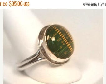ON SALE Mens Circuit Board Ring in Sterling - Silver Statement Ring Green Memory Chip - Geek Jewelry - Recycled Jewelry - Computer Jewelry