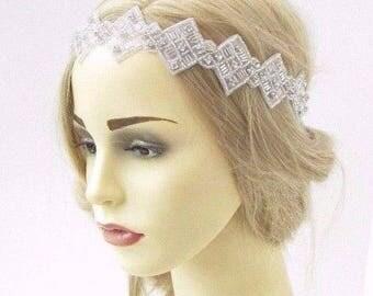 Ivory Silver Diamante Bead Bridal Headpiece Headband Wedding Rhinestone 3458