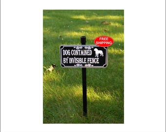 Pit Bull DOG CONTAINED By Invisible FENCE Lawn Sign - Free Shipping