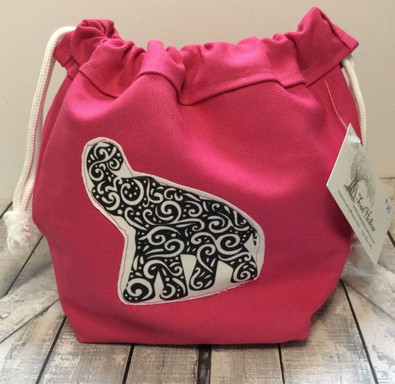 Knitting Project Bag-Hot pink Canvas Elephant Toadstool Bag,Toad Hollow Bag,Crochet Project,Sock bag,yarn keeper,wedge knitting,drawstring
