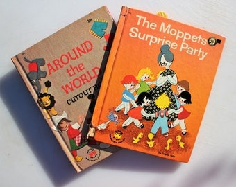 Moppets and Poppits, A Wonderful Wonder Book Pair,The Moppets Surprise #794 and Around the World Cut Out Book #826