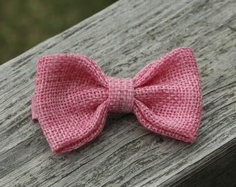 Pink hair child - no slip hair clip - loop burlap