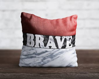 Print Brave PillowCase Quote Throw Pillow Cover White Marble PillowCase Custom Pillow Silk Pillow Case Cushion Satin Pillow Letters Words