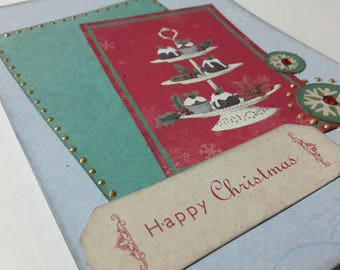 """Shabby scrappee """"Happy Christmas"""" greeting card"""