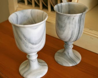 Vintage Marble Wine Goblets (Set of 2) - EXCELLENT Condition - Charming!
