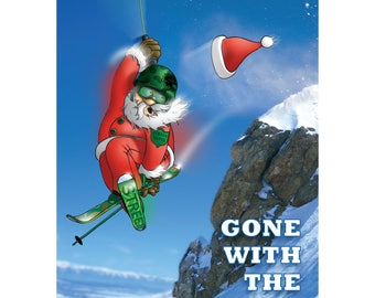 SKI CHRISTMAS CARD - Gone with the wind - Funny Christmas card