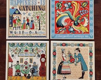 Lot of 4 Vintage Berggren Swedish Trivets/tiles