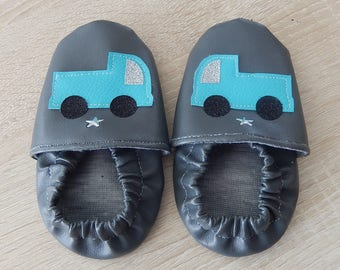 "Baby booties ""trucks"" leather customizable"