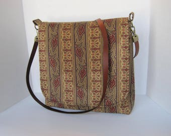 Crossbody, Handbag, Purse, Messenger Bag, Fabric, Handmade, Women's Accessories, Large Brown, Rust, and Gold striped fabric