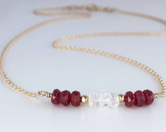 Birthstone Necklaces for July - Genuine Ruby Necklace - Natural Ruby Necklace - Dainty Birthstone Necklace - Moonstone Necklace
