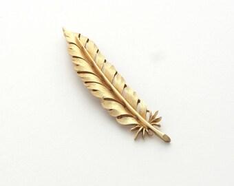 Crown Trifari | Gold Feather Pin | Book Piece | Feather Brooch | Trifari Brooch | Feather Pin | Trifari Pin