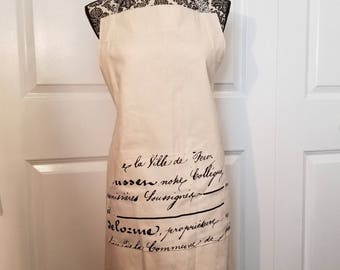 Khaki and French Script Apron, Work Apron, Adjustable Apron, Canvas Apron, Full Coverage Apron, Kitchen Apron, Pocket Apron, MarjorieMae
