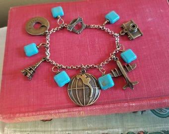 Travel Charms Bracelet, Eiffel Tower, Camera, Globe, Discover, Plane, Explore, Turquoise Stone Beads, Toggle Bracelet, MarjorieMae