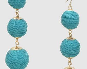 Turquoise Bon Bon Earrings, les bonbons earrings, crispin earrings, Bead ball earrings, ball drop earrings, gumdrop earrings