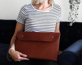 Leather Clutch Oversized Laptop Portfolio Handmade in Australia