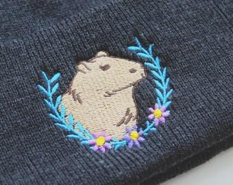 Capybara embroidered knitted beanie, charcoal grey, cute beanie, winter beanie, winter hat, natelledrawsstuff