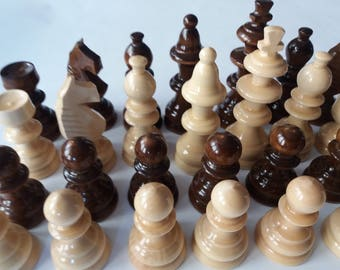 Big chess piece set new handcraft handspindled brown color big, King is 4.33 inch or 11 cm gift toy educational board game