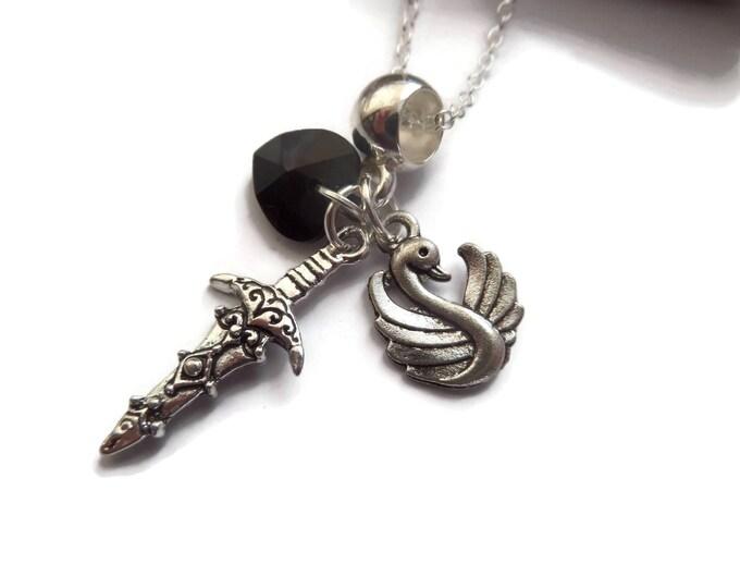 Emma necklace, dagger necklace, novelty necklace, fairy tale necklace, fandom gift, fairy take gift, sandykissesuk, once time necklace