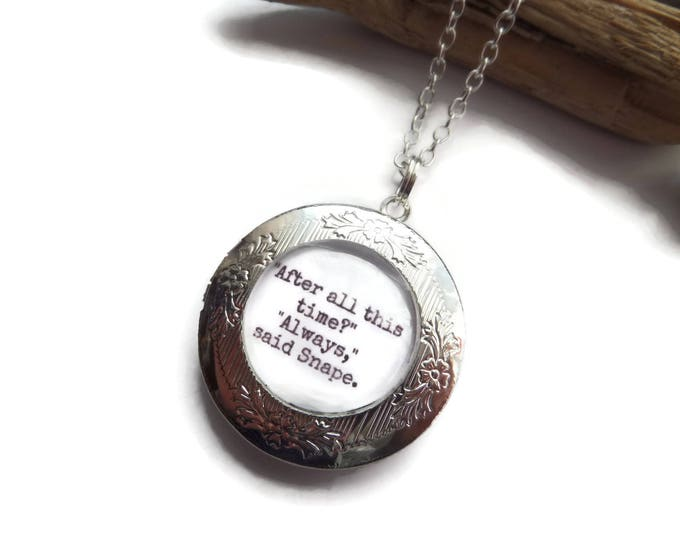 """Book page themed 20mm Glass Dome """" always """" Locket silver tone necklace, wizard fan gift, wizard jewellery, potter locket, always necklace"""