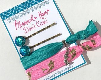 Mermaid Gift! Mermaid hair ties, mermaid party, under the sea, mermaid party favors, mermaid charm, mermaid hair pins, gift for girl,
