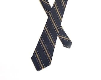 Vintage 1940s 1950s Wool Tie / Striped Woven Tie / 1940's 1950's / Fringe Tie / Hand Woven Tie