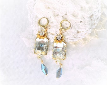 earring retro chic wedding, Crystal, brass