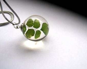 resin Ball pendant with real dried leaves