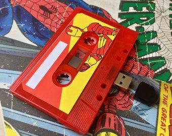 4GB/8GB/16GB Ironman- Marvel - USB Mixtape- Retro Personalised Gift - Geek, Birthday Present, Boyfriend, Girlfriend, Friend- Superhero