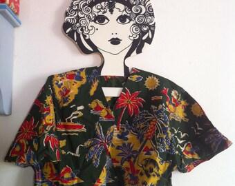 40s 50s top bolero jacket fabulous travel novelty print as is / small - medium