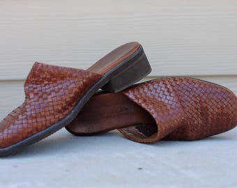 Vintage woven brown leather shoes size 7.5