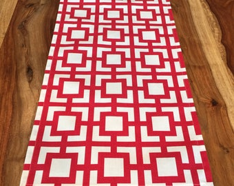 Red and White Geometic Sqaure Table Runner