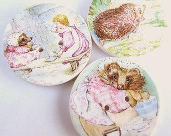 "Mrs Tiggy-Winkle 1"" buttons - Beatrix Potter - Storybook Buttons - Cute Kids Buttons - Hedgehog - Special - Focal - Buttons - Handmade"
