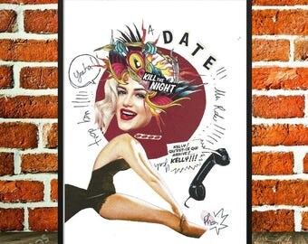 """Original collage, displays fancy, first date, joy, art and collections, pin-up, pop art, minimalism, displays colourful, funky, """"Yeeha"""""""