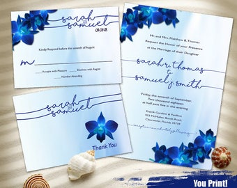 Blue Orchid Watercolor Wedding Invitation Set, Printable Wedding Invitation Suite, Blue Orchid Invitation Printable, Digital Invitation Set