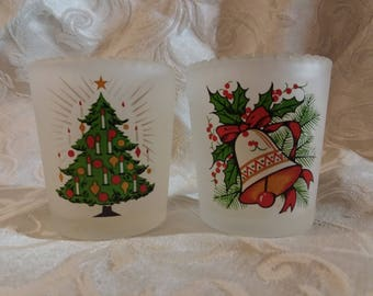 Frosted Old-Fashioned Christmas Votive Cups