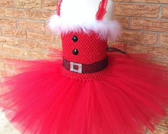 Santa tutu dress, Christmas dress, holiday tutu dress, Christmas outfit, Santa outfit for girls, Santa costume dress, holiday tutu
