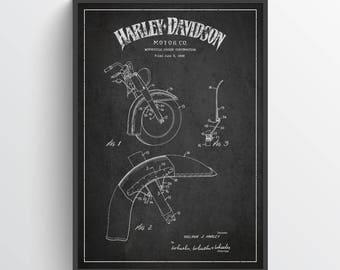 1949 Harley Davidson Motorcycle Patent Wall Art Poster, Harley Davidson Poster, Harley Davidson Print, Home Decor, Gift Idea, TRBM04P