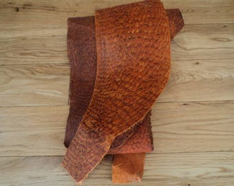 2x Ecological fish skin leather/ fulous color