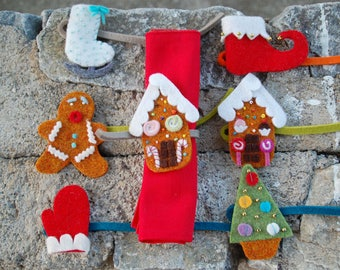 Felt Christmas decorations, Felt gingerbread man - handmade gingerbread house - renindeer Christmas Tree decoration