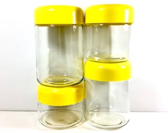 Heller Canister Set of Four Mod Mid Century Kitchen Canisters Yellow Lid Glass Container Retro Kitchenware