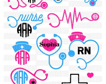 Nurse Stethoscope SVG Cut Files - Monogram Frames for Vinyl Cutters, Screen Printing, Silhouette, Die Cut Machines, & More